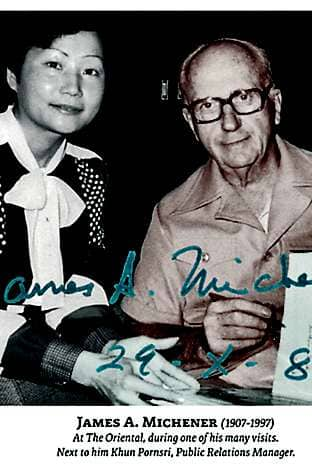Former literary guest James A Michener (with the hotel's then PR manager)