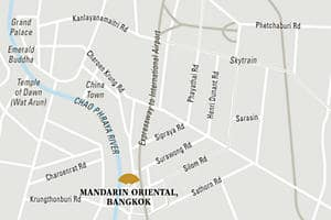 Mandarin Oriental, Bangkok hotel directions and map.
