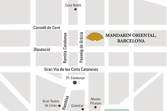 Mandarin Oriental, Barcelona hotel directions and map.