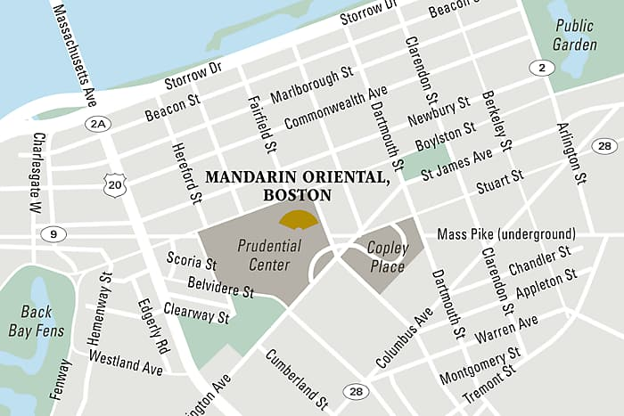 Mandarin Oriental, Boston hotel directions and map.