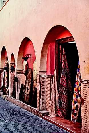 Traditional shopfronts in main square Djemaa el Fna