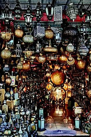 A lantern stall in the Medina