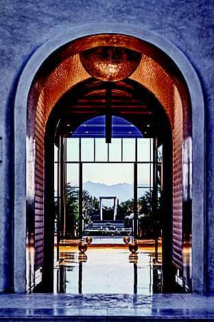 The lobby, with mountain views