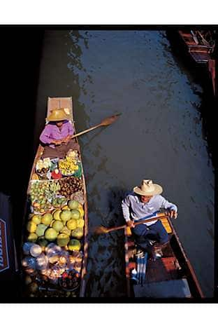 Traders at a floating market, Bangkok