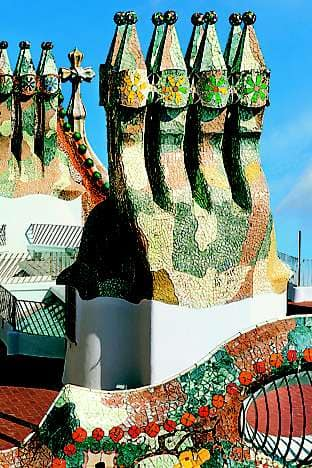 Casa Batlló's trencadís chimneys