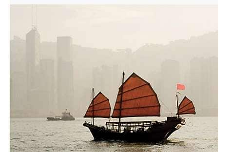 A Chinese junk in Victoria Harbour
