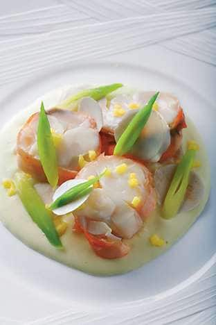 Santa Barbara spiny lobster with a champagne sauce, mushroom, mango and spring onion