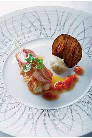 Langoustine, seared Iberico ham and bell pepper, with sliced dry aubergine