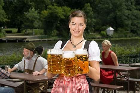 A waitress at the Paulaner beer festival