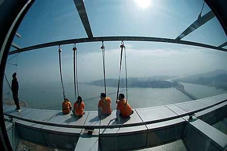 Bungee jumpers at the Macau Tower observation deck