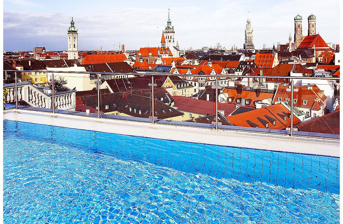 The view from the rooftop pool at Mandarin Oriental, Munich