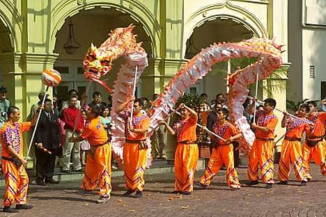 A Chinese New Year dragon dance