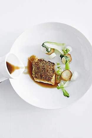 Turbot with jasmine, baby turnips and mushroom consommé