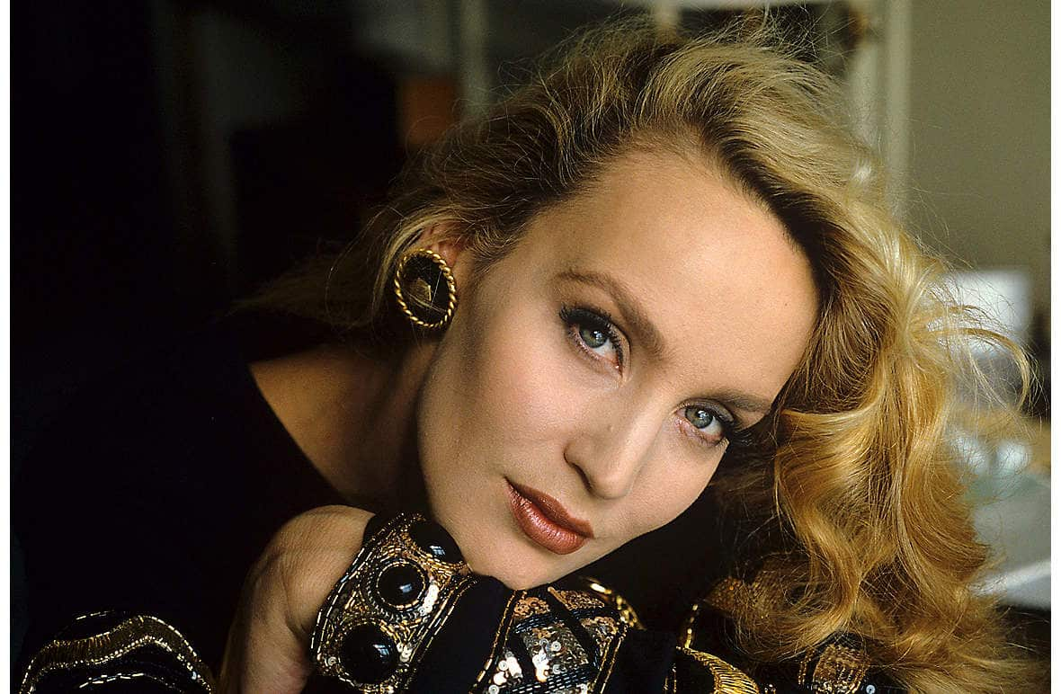 Jerry Hall modelling in 1986