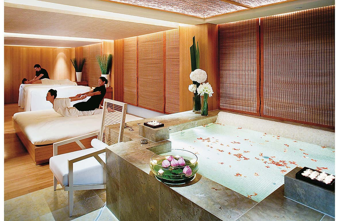 The VIP Sanctuary Suite includes a vitality tub and dual massage beds