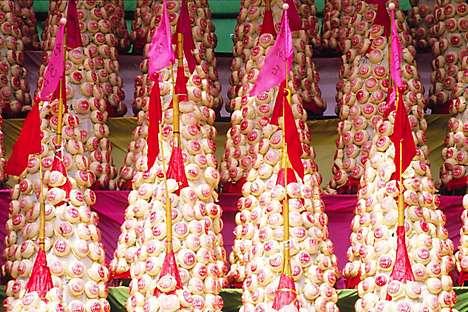 Bun towers at the Cheung Chau Bun Festival