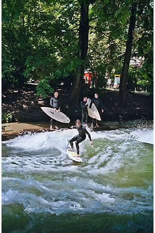 River-surfing on the man-made river Eisbach