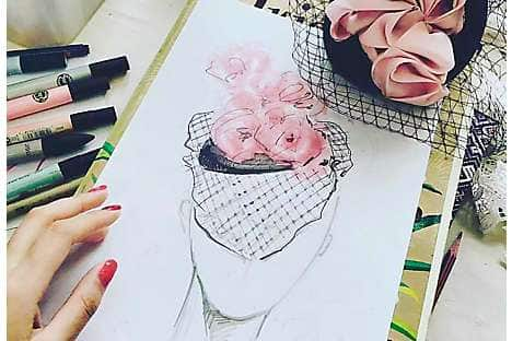 A design for a Peony Rice fascinator