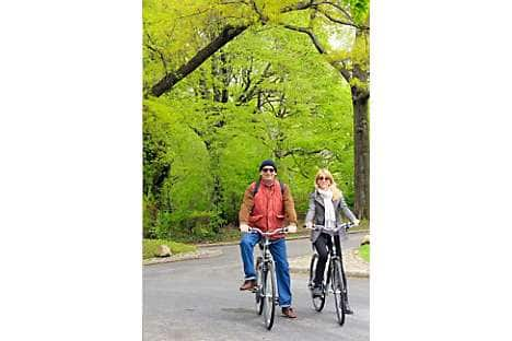 Couple on Bike are riding in Central Park