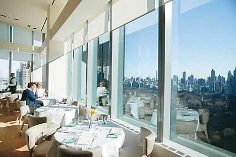 The hotel's Asiate restaurant overlooking Central Park
