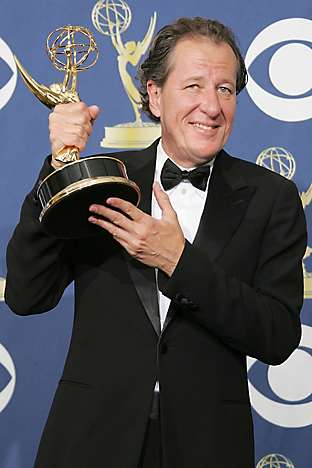 Geoffrey Rush with his Emmy Award in 2005