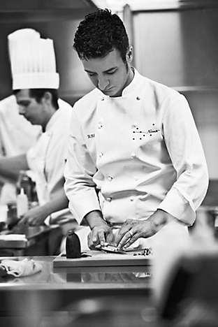 Chef Balam preparing sea cucumber