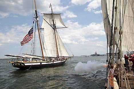 A battle re-enactment in Boston Harbor