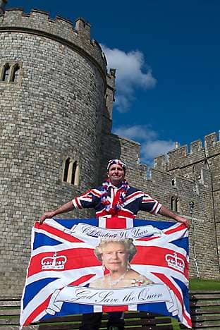 A royal fan outside Windsor Castle