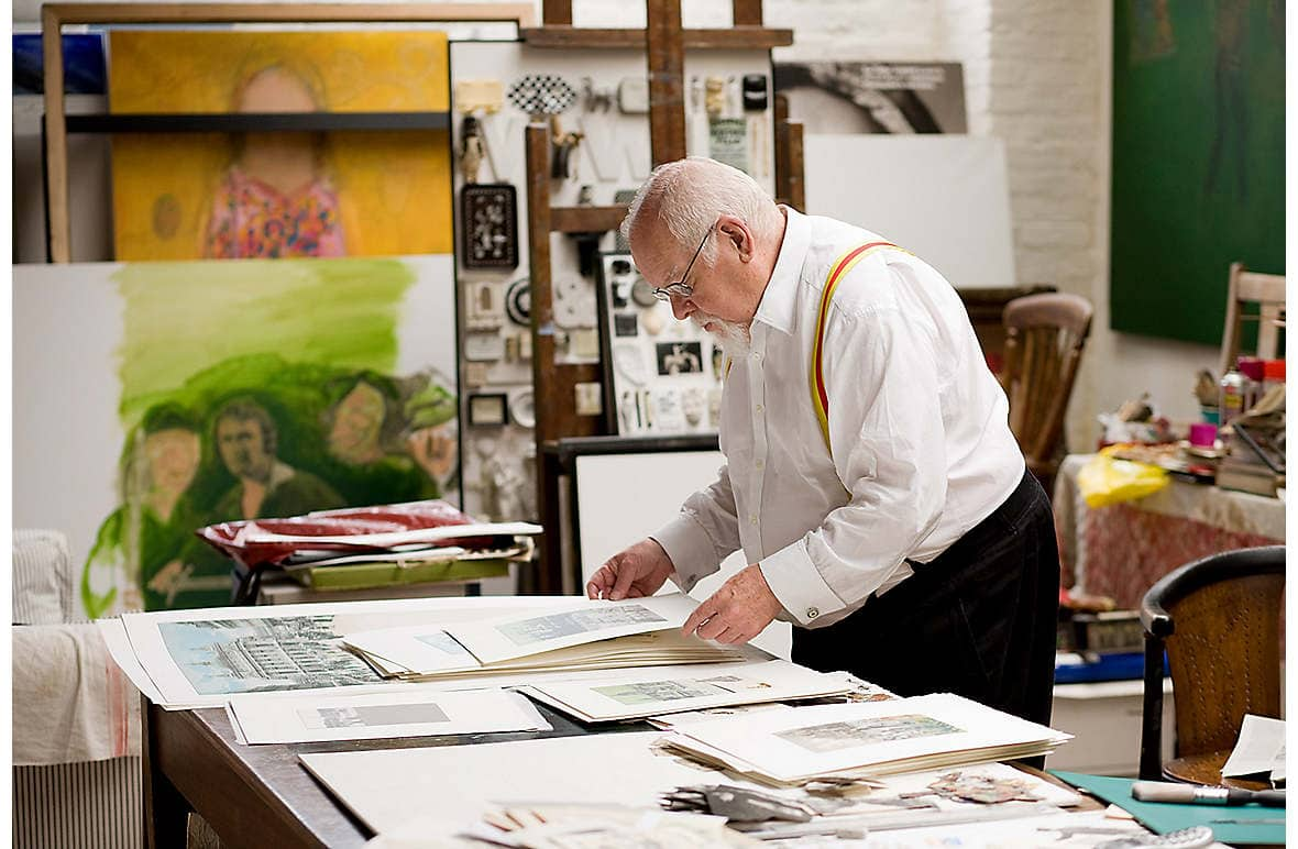 The artist in his London studio