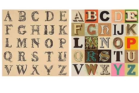 Appropriated Alphabet 12 (left) and Appropriated Alphabet 7 by Peter Blake