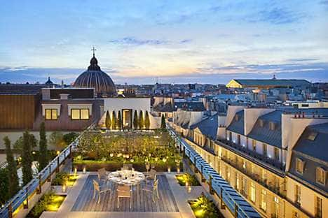 The private terrace of the Royal Oriental Suite at Mandarin Oriental, Paris