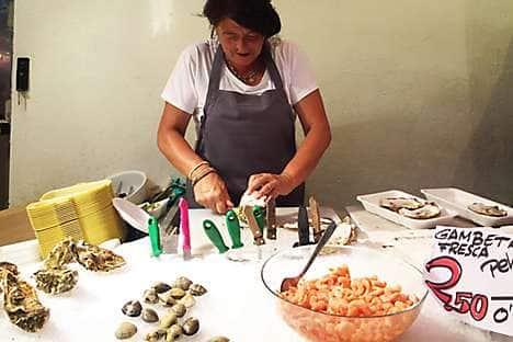 A Boqueria seafood vendor