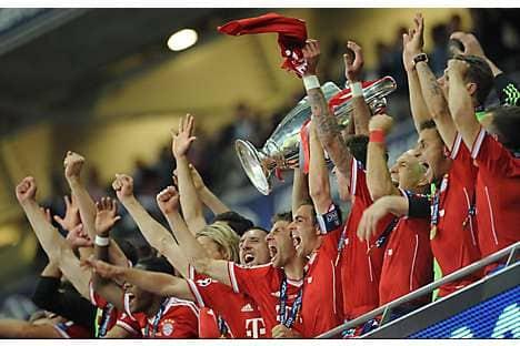 Bayern Munich celebrate winning the Uefa Champions League