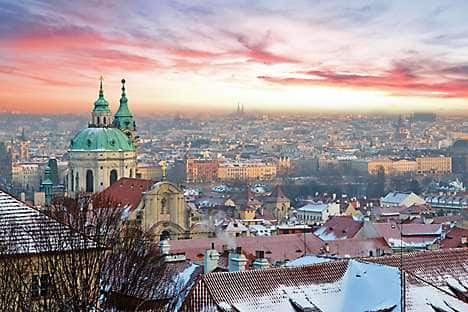 A wintry sunrise over Prague