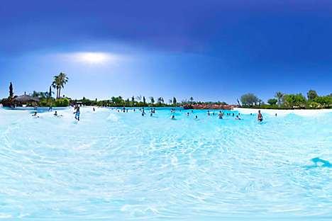 Water park Oasiria's wave pool