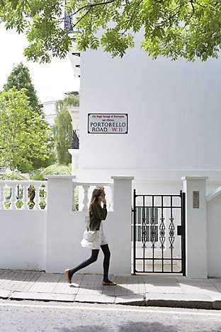 The Portobello Road in Notting Hill, with its elegant white villas