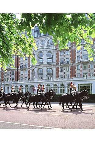 The Household Cavalry passing Mandarin Oriental Hyde Park, London