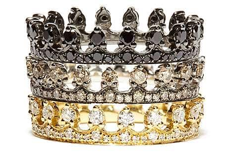Gold and diamond Crown stacking rings