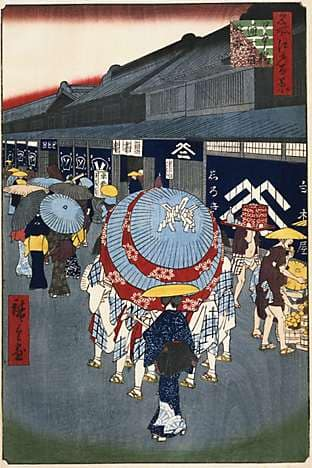 Edo artist Ando Hiroshige's woodblock print, depicting a mid-19th-century street scene in Nihonbashi