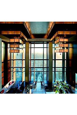 The lobby of Mandarin Oriental, Tokyo, directly overlooking the Nihonbashi district