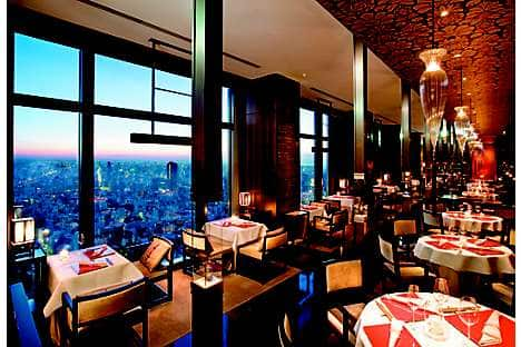 The view of Nihonbashi and beyond from the Michelin-starred Sense restaurant at Mandarin Oriental, Tokyo