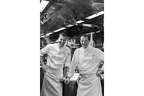 Executive sous chef Sidney Schutte with chef Ekkebus in the Amber kitchens