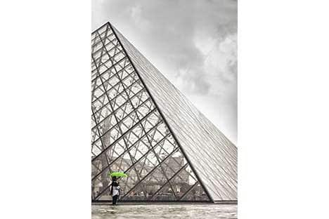 The glass and metal Pyramide that forms the entrance to the Louvre museum