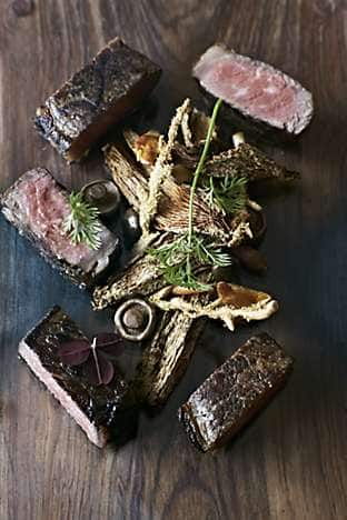 Steak, truffles and wild mushrooms, served at Mandarin Oriental, Hong Kong's Mandarin Grill + Bar