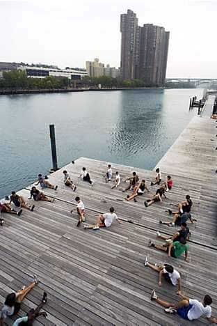 Students warming up before boating on the Hudson