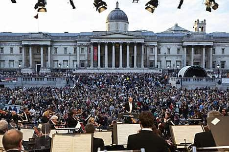 The London Symphony Orchestra playing in Trafalgar Square