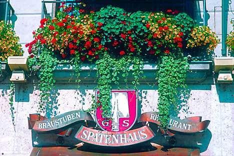 Outside the Spatenhaus restaurant