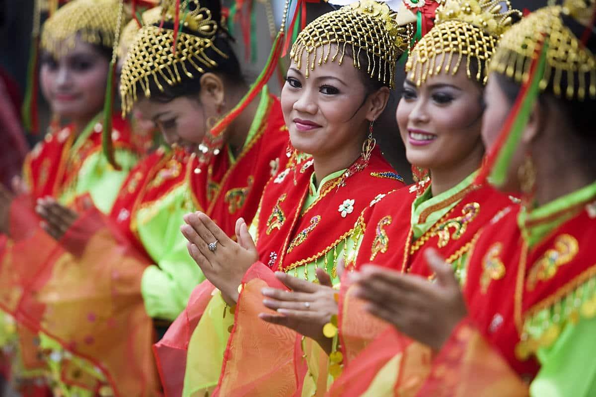 Women dressed in costume at a cultural festival in Jakarta