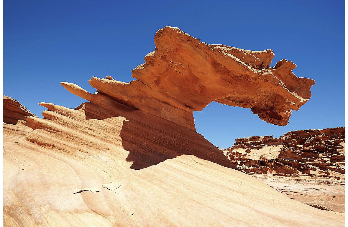 Ancient red sandstone formations in the Valley of Fire, Nevada's state park