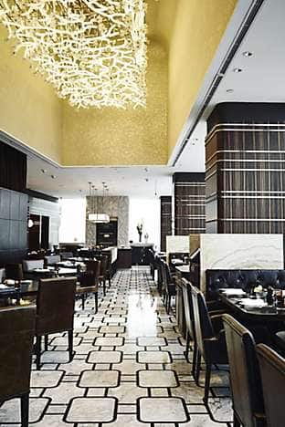 The Art Deco-inspired modern French restaurant Fifty 8˚ Grill, overseen by chef Richard Ekkebus of the two Michelin-starred Amber restaurant in Hong Kong